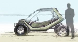 Boceto de vehículo eléctrico diseñado y desarrollado por Smotion. Fuente: www.smotion.eu