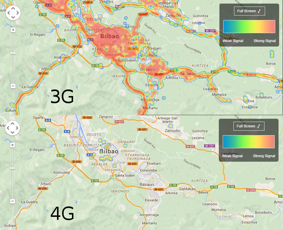 Comparación de la cobertura actual 3G y 4G para la zona de Bilbao