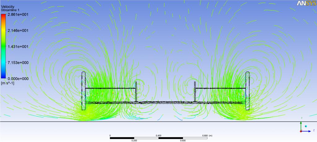 Figura 2. Líneas de trayectoria del aire a través de la geometría diseñada