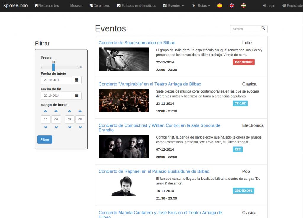 Figura 2: Lista de eventos en la página web